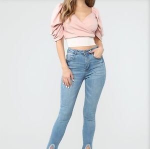 Soft Pink Puff Sleeve Top